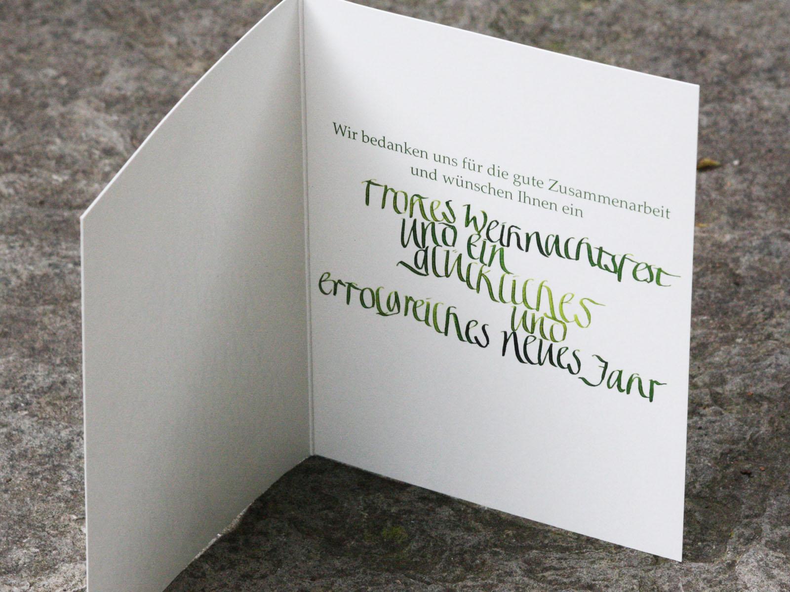 Individuelle Weihnachtskarten.Kalligrafie Schriftkunst Individuelle Papeterie Atelier